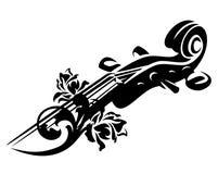 Βιολί μεταξύ του ροδαλού διανυσματικού σχεδίου λουλουδιών ελεύθερη απεικόνιση δικαιώματος