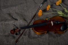 Βιολί, fiddlestick και bowtie, υπόβαθρο καμβά Στοκ Εικόνες