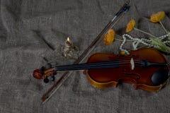 Βιολί, fiddlestick και bowtie, υπόβαθρο καμβά Στοκ φωτογραφίες με δικαίωμα ελεύθερης χρήσης