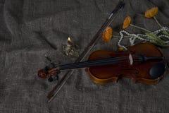 Βιολί, fiddlestick και bowtie, υπόβαθρο καμβά Στοκ Εικόνα