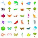 Βιολογικά εικονίδια καθορισμένα, ύφος κινούμενων σχεδίων διανυσματική απεικόνιση