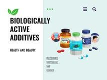 Βιολογικά ενεργός απεικόνιση πρόσθετων ουσιών διανυσματική απεικόνιση