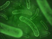 Βιολογική έννοια βακτηριδίων Πράσινο επιστημονικό αφηρημένο υπόβαθρο γαλακτοβακίλλων μικροϋπολογιστών probiotic διανυσματική απεικόνιση