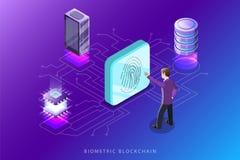 Βιομετρική απεικόνιση έννοιας blockchain επίπεδη isometric διανυσματική Στοκ φωτογραφία με δικαίωμα ελεύθερης χρήσης