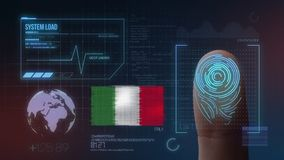 Βιομετρικό σύστημα προσδιορισμού ανίχνευσης δακτυλικών αποτυπωμάτων Υπηκοότητα της Ιταλίας διανυσματική απεικόνιση