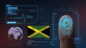 Βιομετρικό σύστημα προσδιορισμού ανίχνευσης δακτυλικών αποτυπωμάτων Υπηκοότητα της Τζαμάικας διανυσματική απεικόνιση