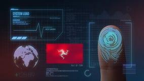 Βιομετρικό σύστημα προσδιορισμού ανίχνευσης δακτυλικών αποτυπωμάτων Υπηκοότητα του Isle of Man διανυσματική απεικόνιση