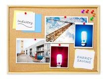 Βιομηχανία στον πίνακα καρφιτσών φελλού υπομνημάτων Στοκ φωτογραφίες με δικαίωμα ελεύθερης χρήσης