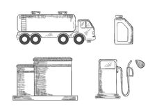 Βιομηχανία πετρελαίου και σκιαγραφημένα μεταφορά εικονίδια Στοκ εικόνα με δικαίωμα ελεύθερης χρήσης