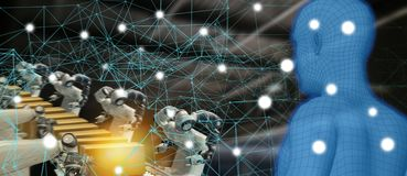 Βιομηχανία 4 τάσης Iot 0 έννοια, βιομηχανικός μηχανικός που χρησιμοποιεί την τεχνητή νοημοσύνη AI που αυξάνεται, εικονική πραγματ στοκ εικόνα