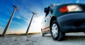 Βιομηχανία της ηλεκτρικής έννοιας αυτοκινήτων και ανανεώσιμης ενέργειας Στοκ εικόνα με δικαίωμα ελεύθερης χρήσης