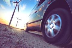 Βιομηχανία της ηλεκτρικής έννοιας αυτοκινήτων και ανανεώσιμης ενέργειας Στοκ Εικόνες
