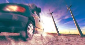 Βιομηχανία της ηλεκτρικής έννοιας αυτοκινήτων και ανανεώσιμης ενέργειας Στοκ Εικόνα
