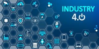 βιομηχανία 4 infographic εργοστάσιο 0 του μελλοντικού †«για το απόθεμα διανυσματική απεικόνιση