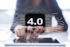 βιομηχανία 4 IOT Διαδίκτυο των πραγμάτων Έξυπνη έννοια κατασκευής Στοκ Εικόνα