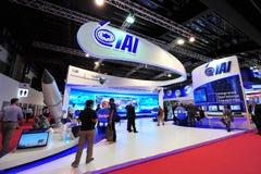 Βιομηχανίες αεροσκαφών του Ισραήλ (IAI) που επιδεικνύουν τη στρατιωτική αεροδιαστημική τεχνολογία του στη Σιγκαπούρη Airshow Στοκ Φωτογραφία
