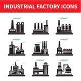 Βιομηχανικά εικονίδια εργοστασίων Στοκ Φωτογραφίες
