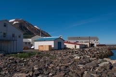 Βιομηχανικά κτήρια στην πόλη Siglufjordur στην Ισλανδία Στοκ Εικόνες
