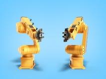 Βιομηχανικά ρομπότ στην μπλε τρισδιάστατη απόδοση υποβάθρου Στοκ Εικόνα