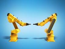 Βιομηχανικά ρομπότ στην μπλε τρισδιάστατη απόδοση υποβάθρου Στοκ Εικόνες