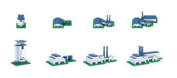 Βιομηχανικά τρισδιάστατα isometric εικονίδια κτηρίων που τίθενται με τις εγκαταστάσεις και το γεγονός διανυσματική απεικόνιση
