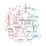 Βιομηχανικές εγκαταστάσεις με έναν εργαζόμενο - απεικόνιση σχεδίου γραμμών Στοκ Εικόνες