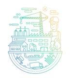 Βιομηχανικές εγκαταστάσεις με έναν εργαζόμενο - απεικόνιση σχεδίου γραμμών Στοκ φωτογραφία με δικαίωμα ελεύθερης χρήσης
