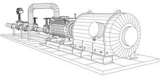 Βιομηχανικές πετρέλαιο εξοπλισμού καλώδιο-πλαισίων και αντλία φυσικού αερίου απεικόνιση αποθεμάτων
