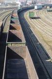 Βιομηχανική άποψη με το μέρος των βαγονιών εμπορευμάτων τραίνων σιδηροδρόμων φορτίου Στοκ Εικόνες