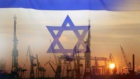 Βιομηχανική έννοια με τη σημαία του Ισραήλ στο ηλιοβασίλεμα απόθεμα βίντεο