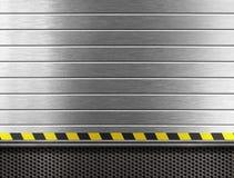 Βιομηχανική ανασκόπηση μετάλλων με τα λωρίδες κινδύνου στοκ εικόνα με δικαίωμα ελεύθερης χρήσης