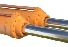 Βιομηχανική απομονωμένη τρισδιάστατη απεικόνιση υδραυλικών συστημάτων εμβόλων μηχανών Στοκ φωτογραφία με δικαίωμα ελεύθερης χρήσης