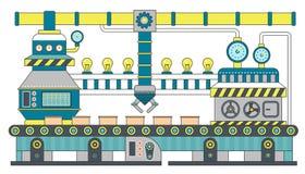 Βιομηχανική επίπεδη διανυσματική απεικόνιση γραμμών ζωνών μεταφορέων Παραγωγή διαδικασίας μεταφορέων, μεταφορέας με το ρομπότ μηχ ελεύθερη απεικόνιση δικαιώματος