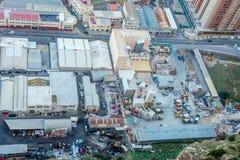 Βιομηχανική ζώνη άνωθεν, Γιβραλτάρ Στοκ εικόνα με δικαίωμα ελεύθερης χρήσης