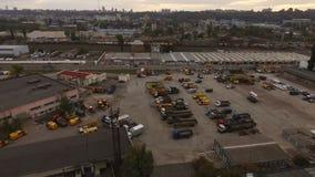 Βιομηχανική ζώνη πόλεων, εναέρια άποψη από Copter απόθεμα βίντεο