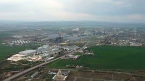 Βιομηχανική και πετροχημική βιομηχανία σε Ploiesti, Ρουμανία απόθεμα βίντεο