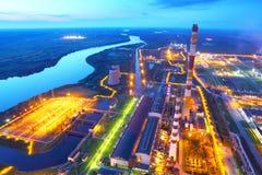 βιομηχανική νεώτερη ζώνη καθαρισμού πετρελαίου εξοπλισμού εργοστάσιο βιομηχανικό Η τοπ όψη Στοκ Φωτογραφίες