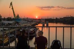 Βιομηχανική περιοχή της άποψης του Κίεβου από τη γέφυρα Rybalskii Στοκ Εικόνες