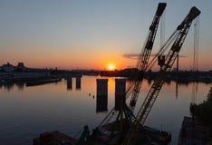 Βιομηχανική περιοχή της άποψης του Κίεβου από τη γέφυρα Rybalskii Στοκ Εικόνα