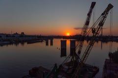 Βιομηχανική περιοχή της άποψης του Κίεβου από τη γέφυρα Rybalskii Στοκ Φωτογραφίες