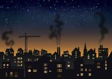 Βιομηχανική πόλη τη νύχτα Στοκ Εικόνες