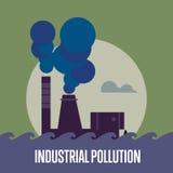 βιομηχανική ρύπανση Εργοστάσιο με το σωρό καπνού διανυσματική απεικόνιση