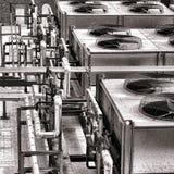 Βιομηχανικοί ανεμιστήρες συμπιεστών κλιματιστικών μηχανημάτων HVAC Στοκ Φωτογραφία