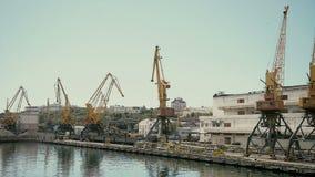 Βιομηχανικοί γερανοί λιμένων στην Οδησσός, Ουκρανία Λιμένας Μαύρης Θάλασσας απόθεμα βίντεο