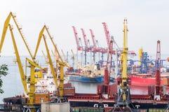 Βιομηχανικοί γερανοί και φορτηγά πλοία στο θαλάσσιο εμπορικό λιμένα Στοκ Φωτογραφίες