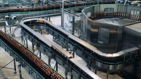 Βιομηχανικοί μεταφορείς που μεταφέρουν τα μπουκάλια μπύρας φιαγμένα από γυαλί απόθεμα βίντεο