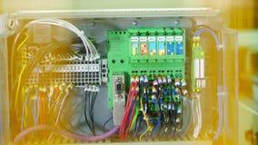 Βιομηχανικός εξοπλισμός Ηλεκτρική ενέργεια εξοπλισμού κιβωτίων ελεγκτών στη βιομηχανία εργοστασίων απόθεμα βίντεο