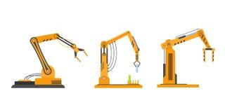 Βιομηχανικός εξοπλισμός στα ρομπότ βραχιόνων μορφής, ρομποτικός εξοπλισμός, μηχανές εργοστασίων διανυσματική απεικόνιση