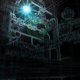 Βιομηχανικός εξοπλισμός καλώδιο-πλαισίων Φωτεινό φως και διανυσματική απεικόνιση