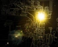 Βιομηχανικός εξοπλισμός καλώδιο-πλαισίων Φωτεινό φως και ελεύθερη απεικόνιση δικαιώματος
